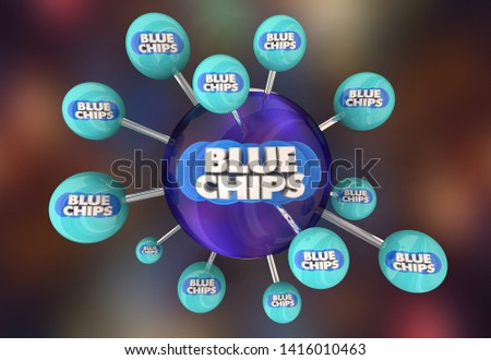 Blue Chips Top Priority Company Goal Connection Network 3d Illustration #1416010463
