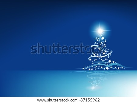 Blue Christmas Abstraction - colored abstract illustration
