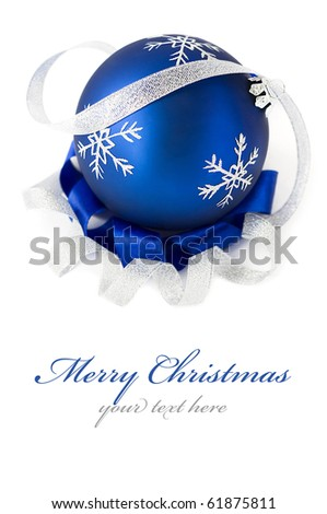 Blue christmas ball isolated