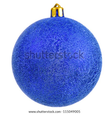 blue christmas ball. new year ornament . Isolated over white.