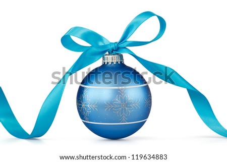 blue Christmas ball with ribbon