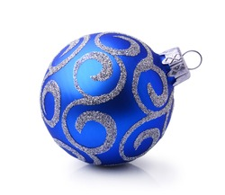 Blue Christmas ball with silver ornament isolated on white background