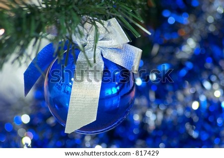 Blue christmas ball with silver ribbon #817429