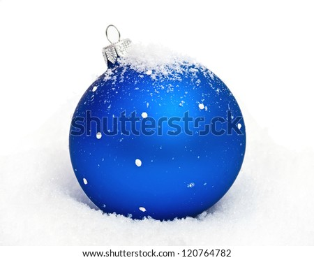 blue christmas ball with snow isolated on white