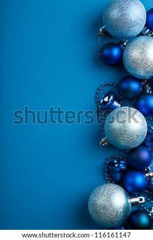 blue christmas balls border