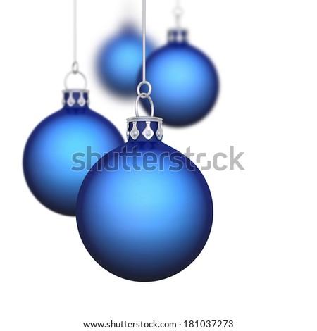 blue christmas balls isolated - Blue Christmas Balls
