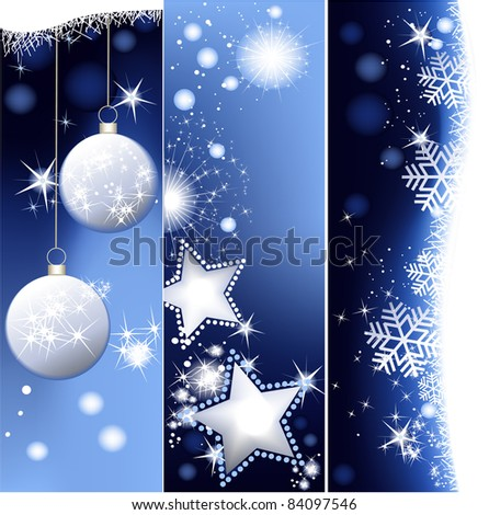 Blue Christmas banners - stock photo