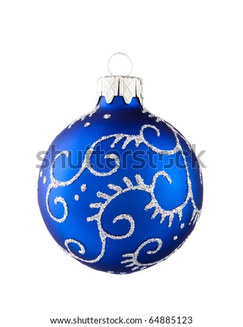 Blue Christmas baubles isolated on white