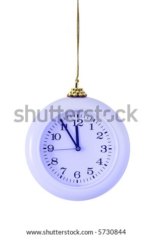 Blue christmas clock isolated over white background