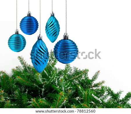 Blue Christmas decoration green spruce branches white background