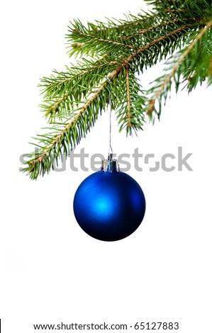 Blue christmas decoration on the fir tree - stock photo