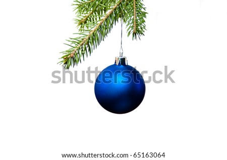 Blue christmas decoration on the fir tree
