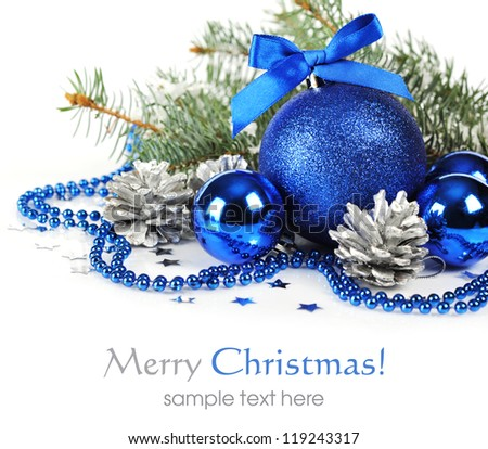Stock Photo Blue Christmas Decorations And Silver Pine Cones Over White Background