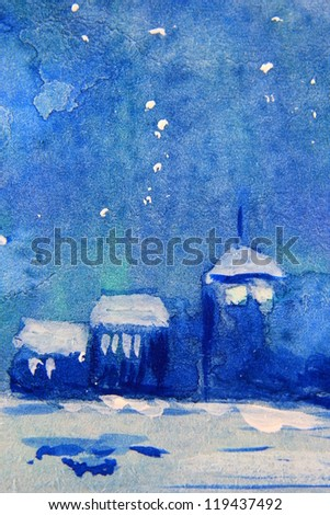 Blue Christmas Landscape 2