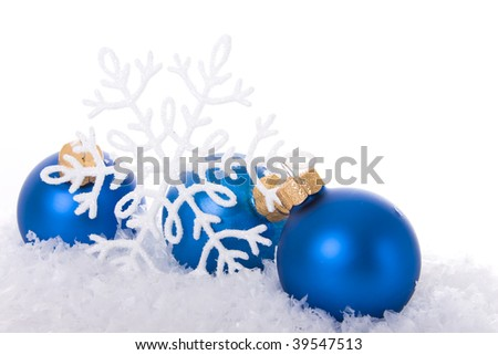 Blue christmas ornament background (selective focus)