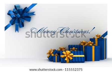 Blue christmas postal, envelope with gifts and bow on white