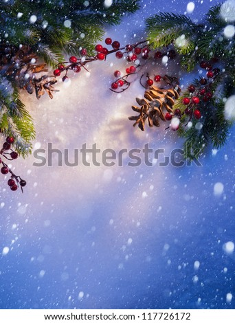 Blue Christmas snow background, frame �¢??�¢??of fir branches
