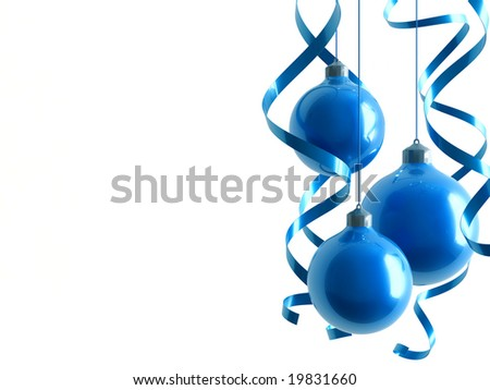 blue Christmas toys in an environment of ribbons on a white background
