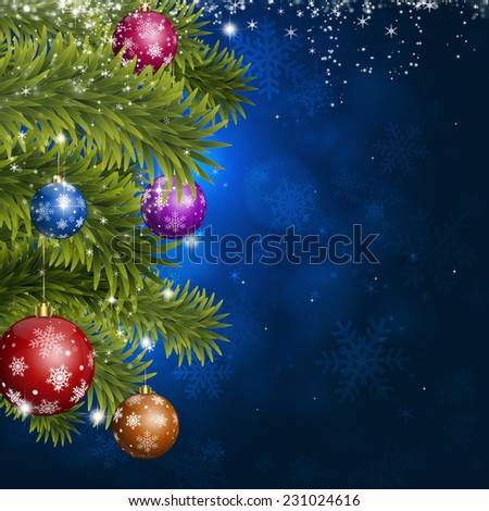 blue christmas tree and balls background for holiday greeting cards