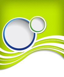 Blue circle on green wave background - flyer design