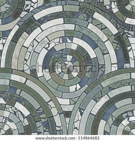 Blue circle stone floor tiles