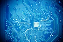 blue circuit board as abstract technology background