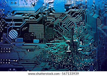 blue circuit board, top view