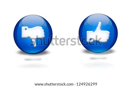 blue circular icons with thumbs up or down