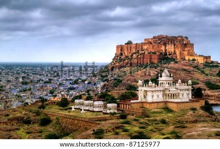 Blue city Jodhpur, Rajasthan, India, with Mehrangharh Fort and Jaswant Thada mausoleum