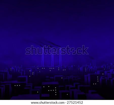 Blue City Night - stock photo
