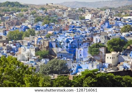blue city view Jodhpur in Rajasthan, India