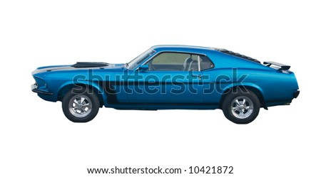 Blue classic American Muscle Car with black stripes
