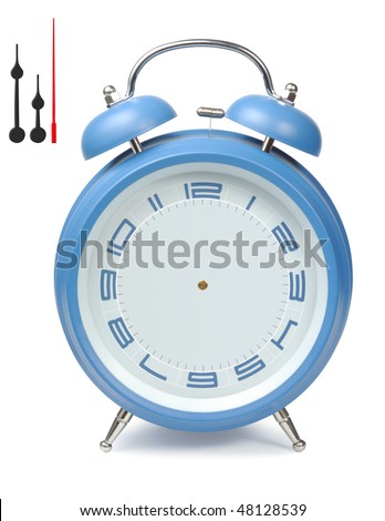 Blue classic clock alarm-clock isolated with clipping paths over white background