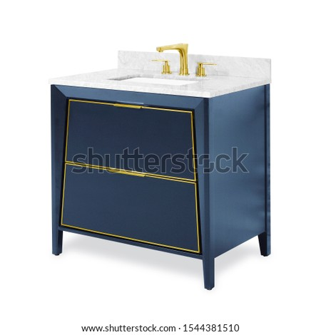Blue Classic Wooden Bathroom Vanity Isolated on White. Luxury Contemporary Vanity Cabinet with Ceramic Countertop Sink and Chrome Gold Faucet. Art Deco Bathroom Furniture. Bathroom Essentials Set Stok fotoğraf ©
