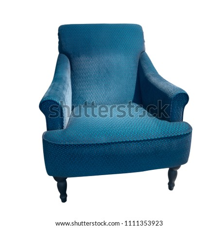 Blue classical vintage style armchair with upholstery geometric texture isolated on white background. Soft velour fabric checkered pattern chair #1111353923