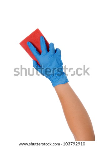 Blue cleaning gloves with a sponge against a white background