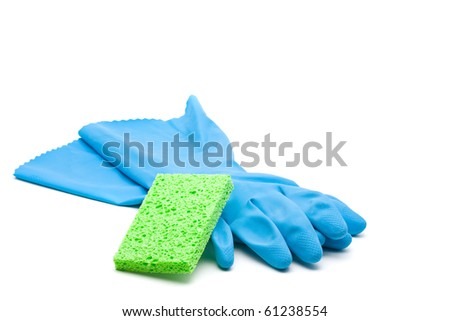 Blue cleaning rubber gloves with sponge over white background