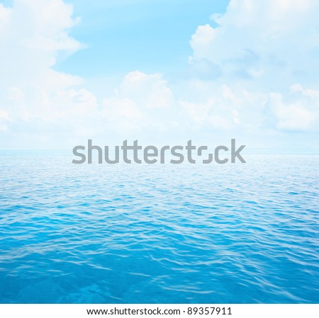 Blue clear sea with waves and sky with fluffy clouds #89357911