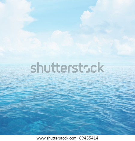 Blue clear sea with waves and sky with fluffy clouds #89455414