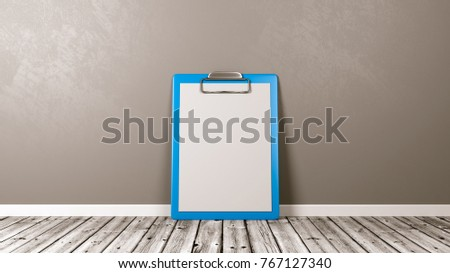 Blue Clipboard with Blank Paper on Wooden Floor Against Grey Wall with Copyspace 3D Illustration