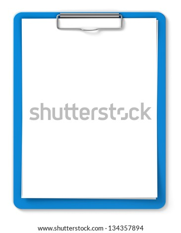 Blue clipboard with blank sheets of paper isolated on white