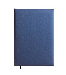 Blue closed book isolated over white background. View from above.