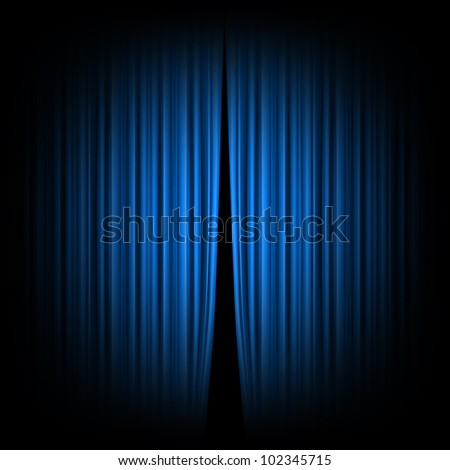 Blue closed the curtain, lit by a spotlight, rasterized versions