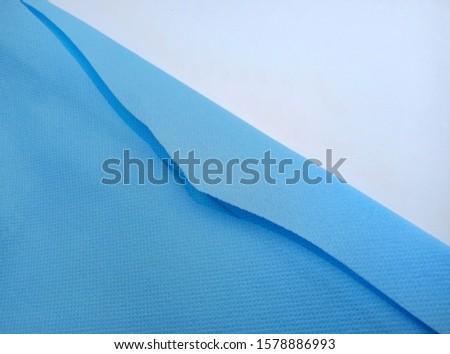 blue cloth cut. Canvas fabric or sponge fabric