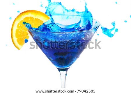 Blue cocktail with orange isolated on white