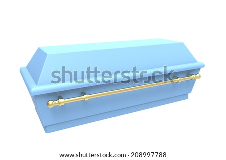 Blue coffin, isolated on white, 3d render