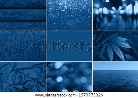 Blue collage on different themes, with different photos of different subjects, side and blurry background, texture of fabric #1579973026