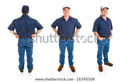 Blue collar worker.  Three full body views with different perspectives and expression, isolated on white background.
