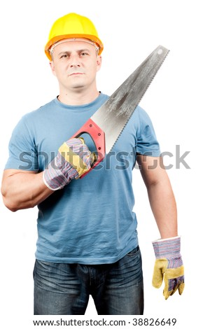 BLUE COLLAR WORKER With Yellow Helmet And Handsaw, Isolated On ...