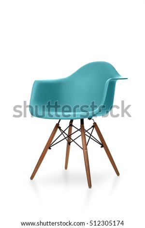 Blue color chair, modern designer chair isolated on white background. Plastic chair #512305174